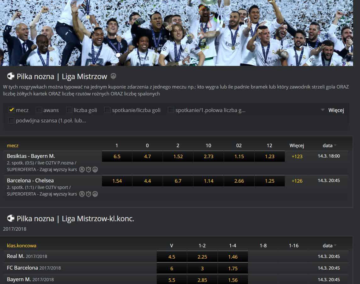 Liga Mistrzów bukmacher Fortuna online