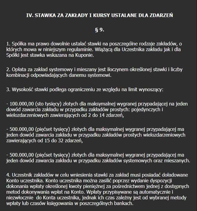 Punkty regulaminu dotyczące limitów (Totolotek.pl)