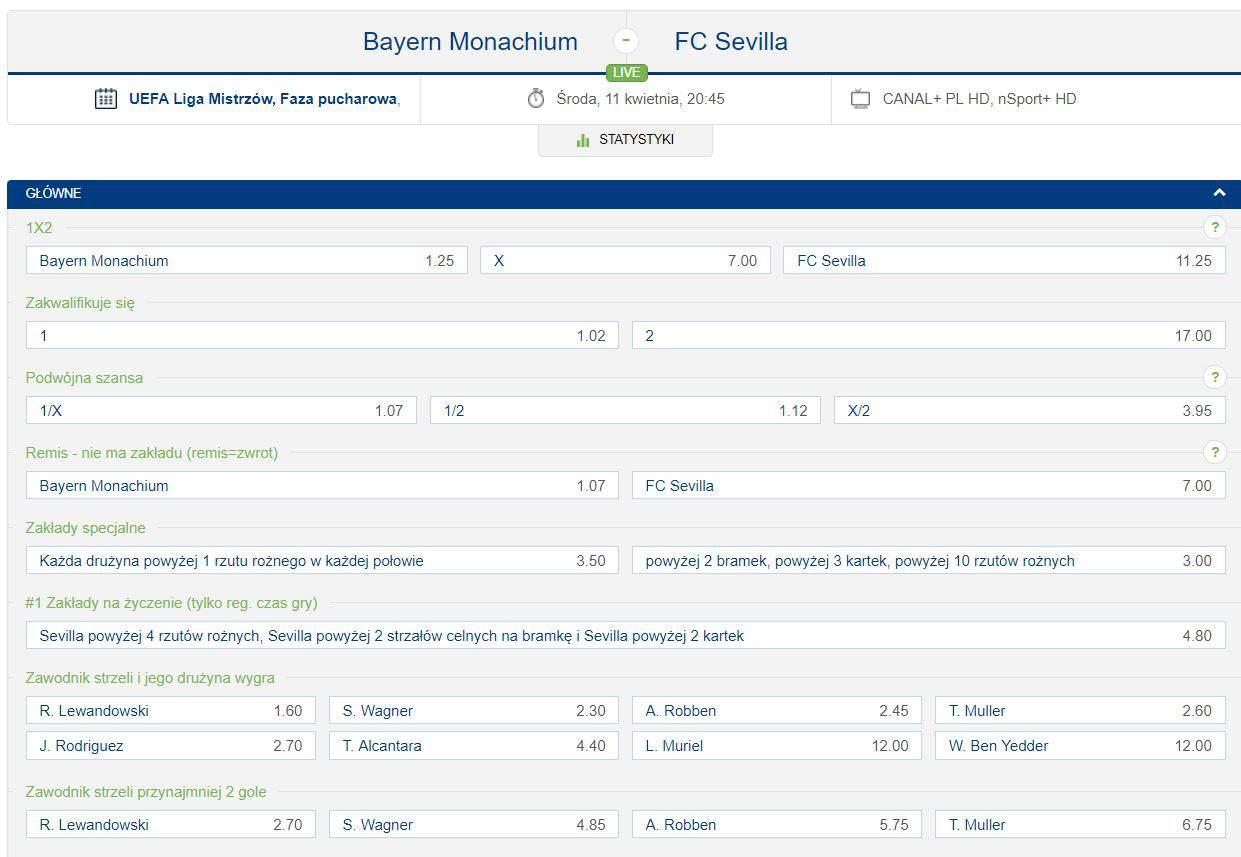 Kursy na Bayern - Sevilla (forBET)
