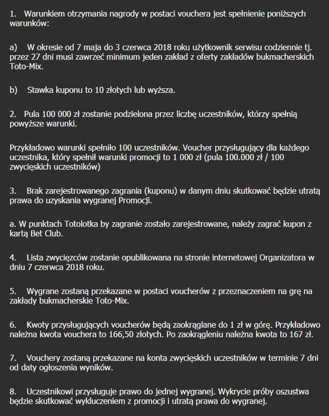 Wybrane punkty regulaminu promocji Maraton Bukmacherski 2018