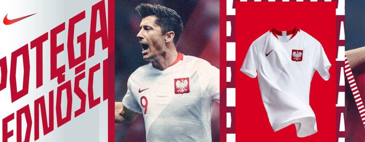 Oficjalna grafika Nike z koszulkami meczowymi Polski 2018