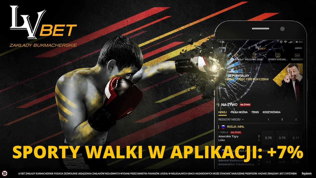 Sporty walki w aplikacji LvBET. Premia 7% do wygranych!