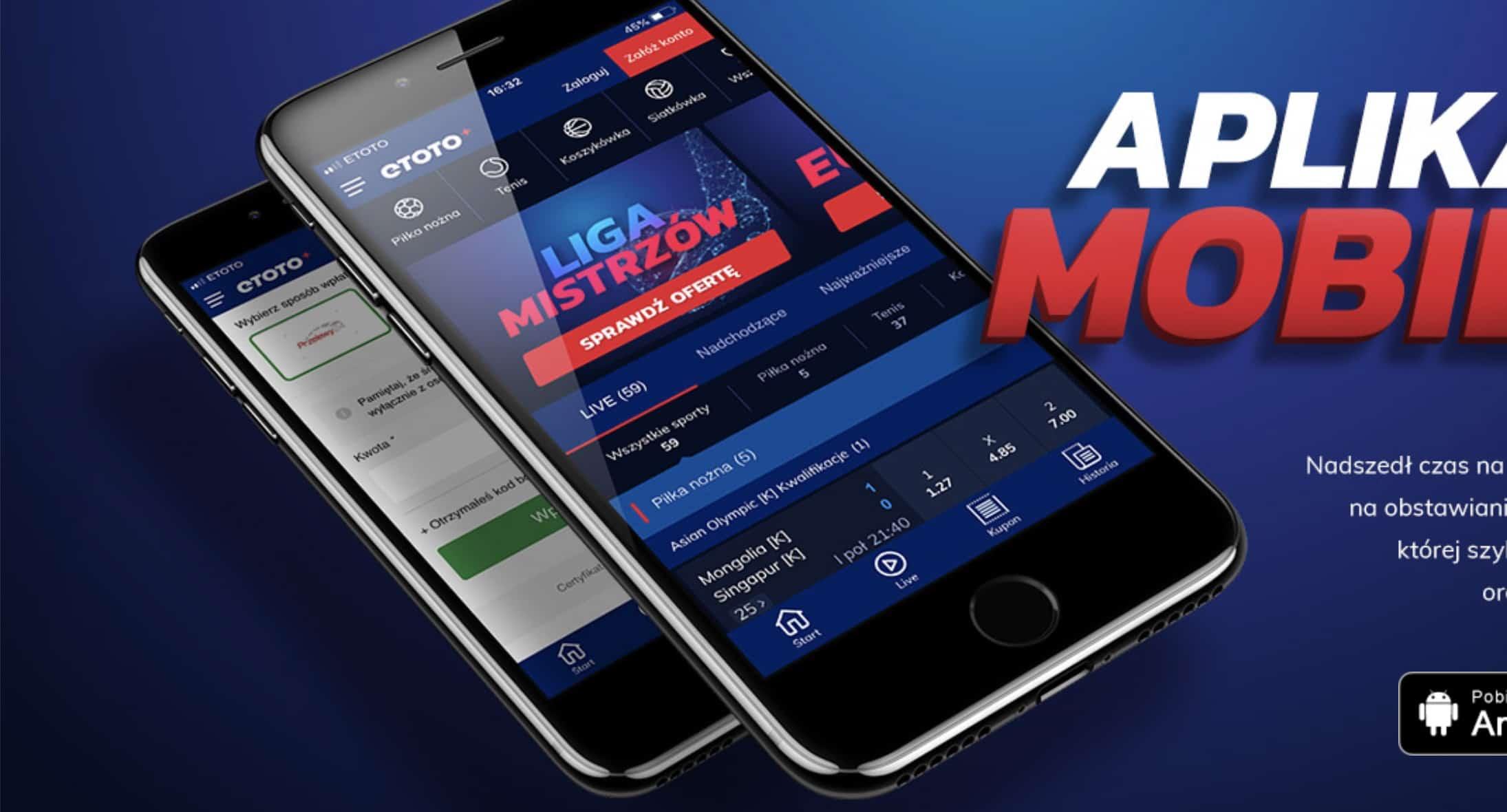 Etoto aplikacja mobilna. Obstawianie przez telefon