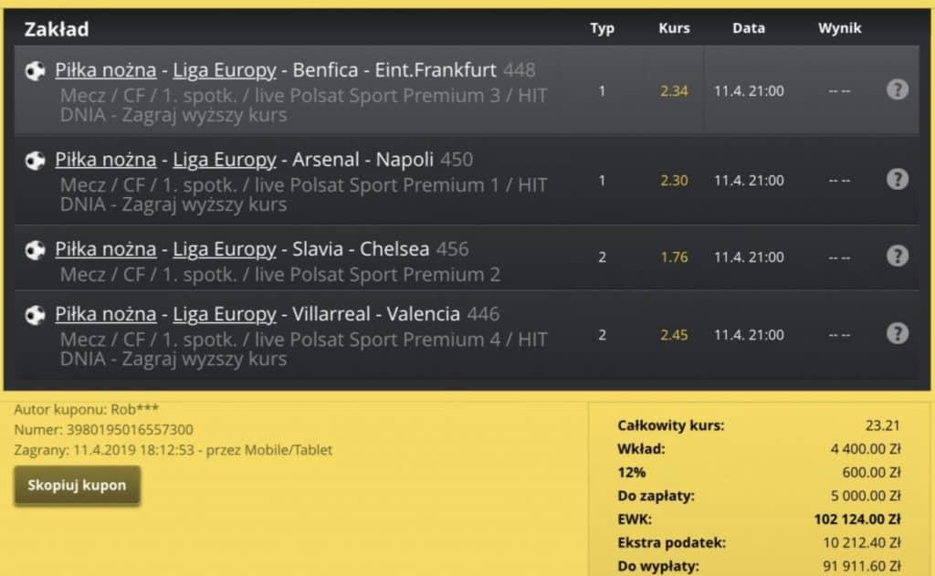 Wygrany kupon Liga Europy. Fortuna online